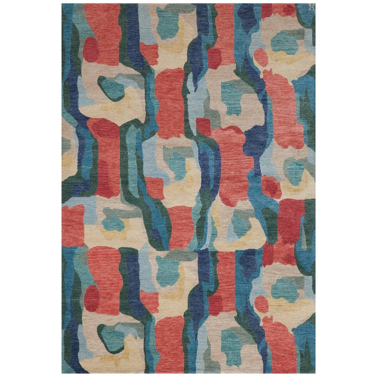 'Kigali, Red/Indigo' Hand-Knotted Tibetan Rug Made in Nepal by New Moon Rugs