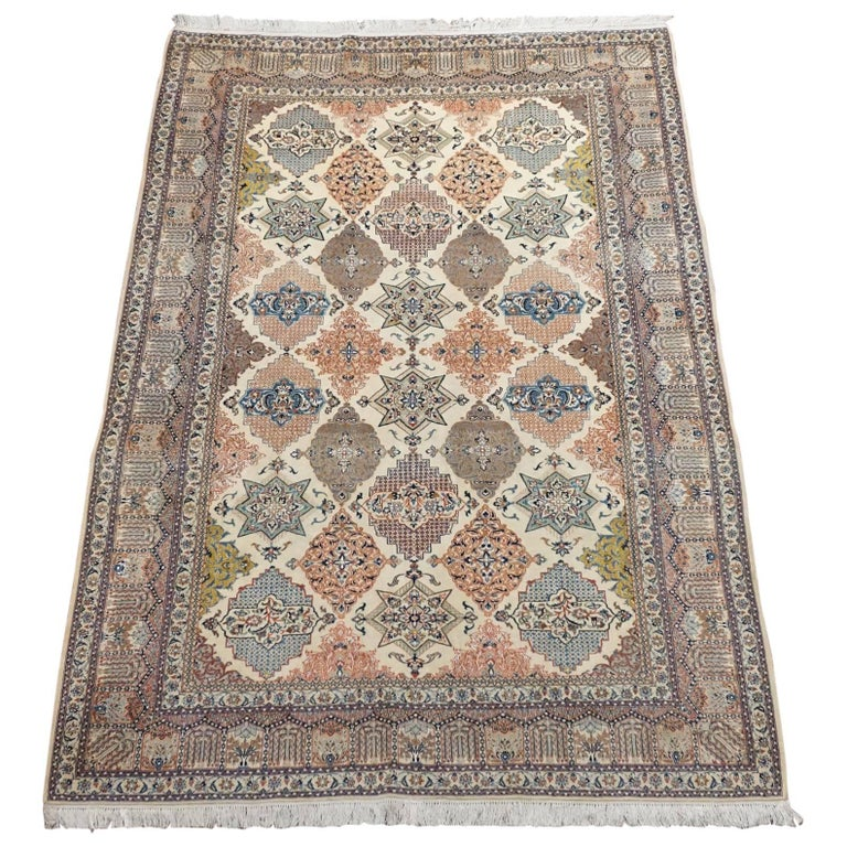 Ivory Wool And Silk Persian Naein Area Rug For Sale At 1stdibs: Wool And Silk Persian Naein Area Rug, Over 500 KPSI For