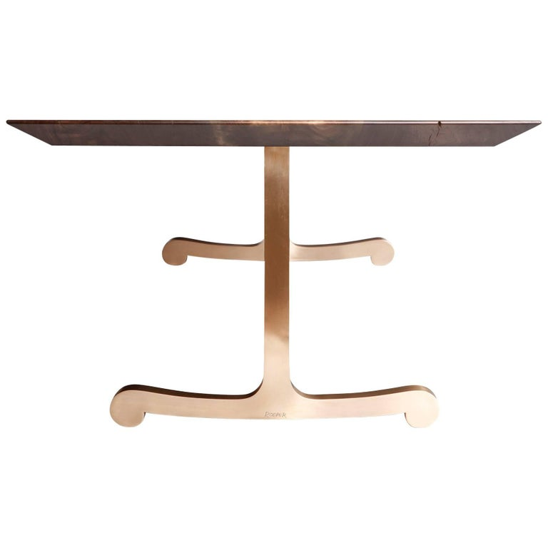 Vienna Slim Bevel Dining Table in Smoked Walnut and Cast Bronze by Studio Roeper For Sale