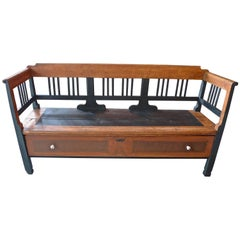French 19th Century Bench with Two Side Arms, High Back and Deep Drawer