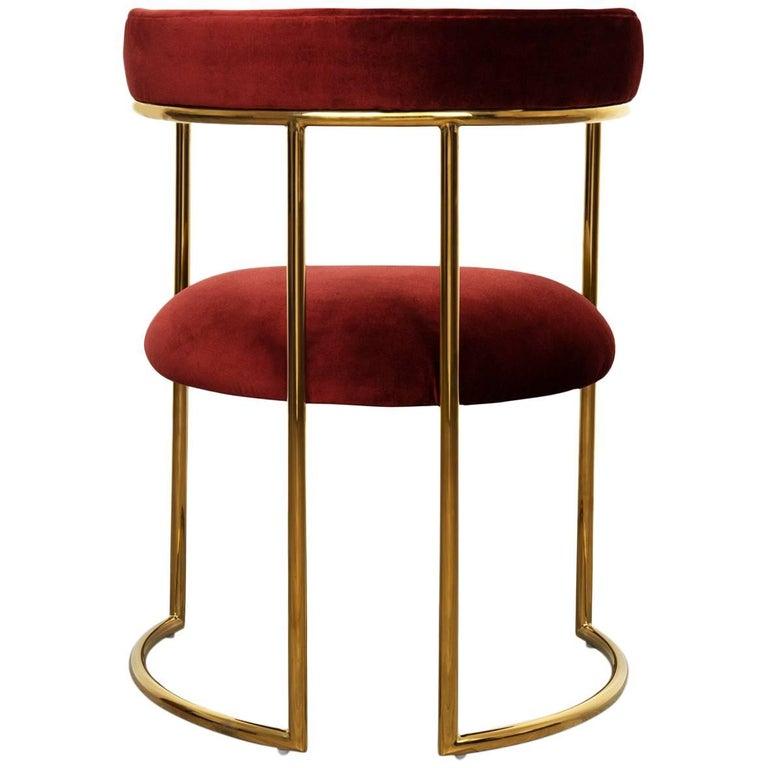 Modern Style Acapulco Dining Chair Brass Frame Merlot Velvet Upholstery For Sale