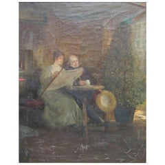 Young Woman and Man Reading 'La Patrie'