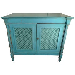 French 19th Century Painted Buffet with Two Open Doors with Wire and One Shelf