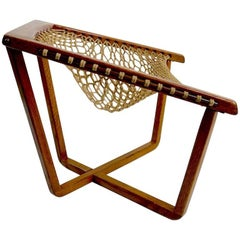 Rope Net Sling Chair with Exposed Oak Frame