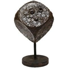 Brutalist Cube Sculpture in Bronze