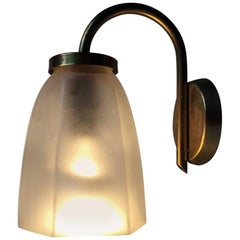 Vintage Danish Brass and Frosted Glass Lounge Wall Lamp from Lyfa, 1950s