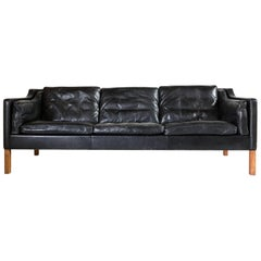 Black Leather Borge Mogensen Style Sofa
