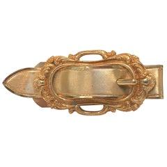 Italian Gilt Bronze Buckle Motif Desk Clip, in the Style of Gucci