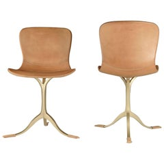 Bespoke Leather Chair with Hand-Cast Brass Base, by P. Tendercool