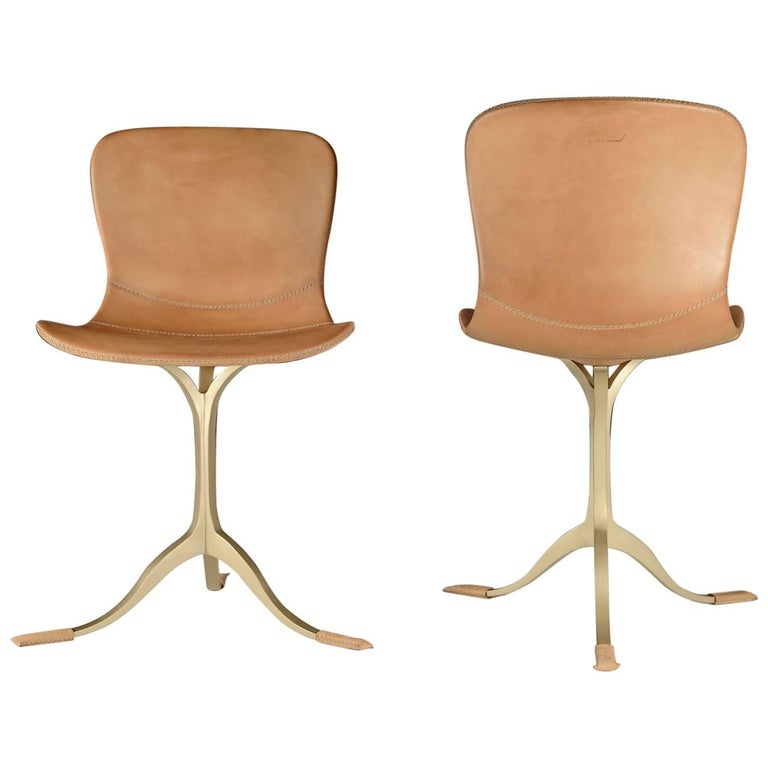 Bespoke Leather Chair with Hand-Cast Brass Base, by P. Tendercool For Sale