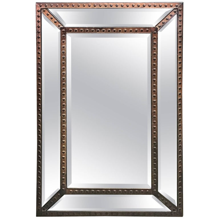 Industrial Copper Riveted Mirror