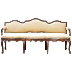 18th Century Italian Walnut Triple Back Bench or Settee