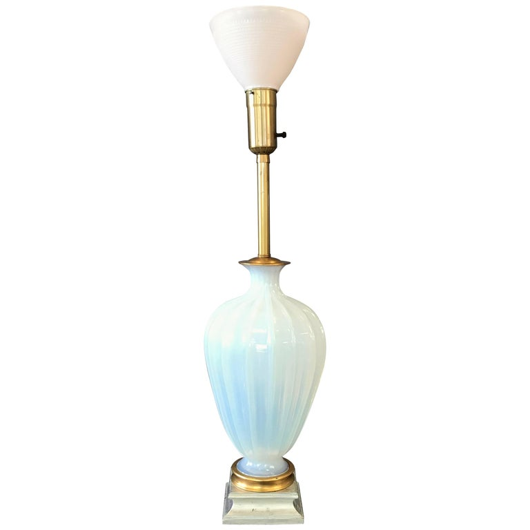 Seguso for Marbro Large Murano Glass Opaline Lamp For Sale