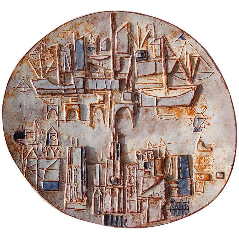 Signed Ceramic Charger with Abstract Maritime Cityscape, 1950s
