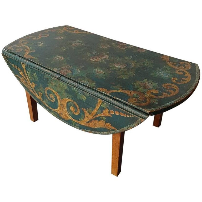 Vintage Drop Leaf Coffee Table Or Sofa With Painted Top For