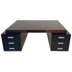 Large Bauhaus Style Partner Desk with Wenge Wood