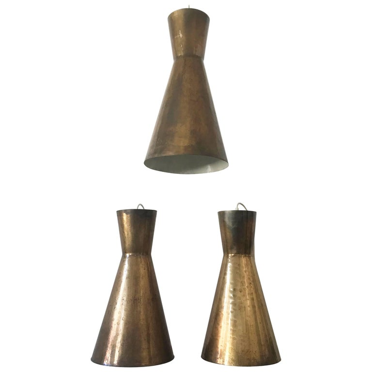 Three Large Diabolo Brass Pendant Lamps, 1950s