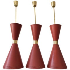 Three Large Diabolo Pendant Lamps by BAG Turgi Attributed, 1950s