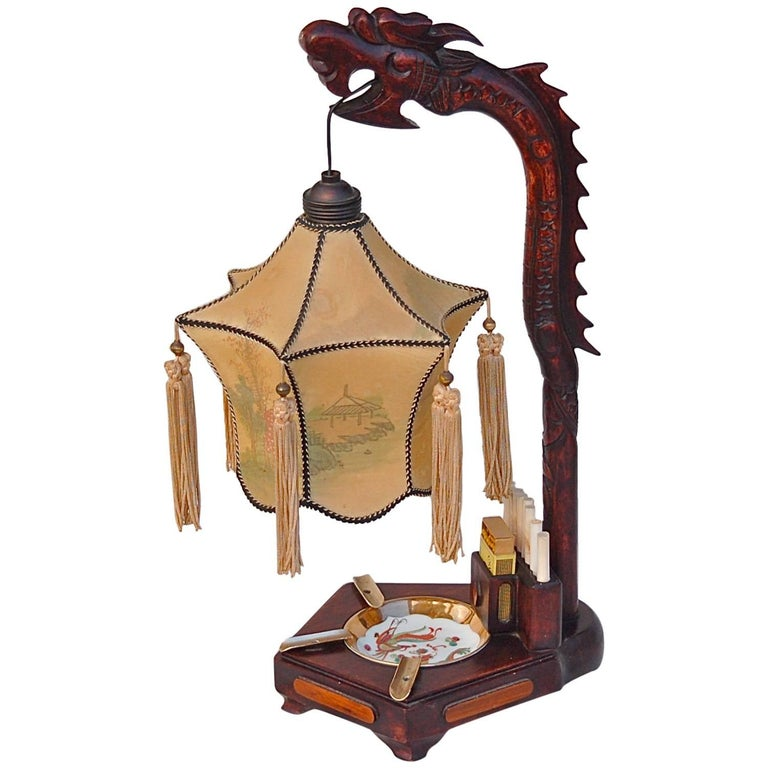 1920s chinese dragon table lamp with ashtray and cigarette holder 1920s chinese dragon table lamp with ashtray and cigarette holder for sale aloadofball Choice Image