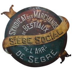 Vintage Industrial Round Iron Advertising Sign for Mancave Loft or Store