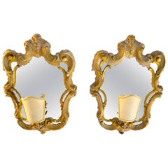 Pair of Rococo Style Mirrored Sconces