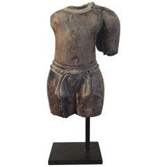Pair of Khmer Torso Grey Terracotta