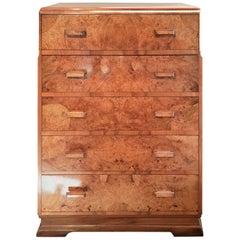 Original Art Deco Chest of Drawers in Figured Walnut Veneers