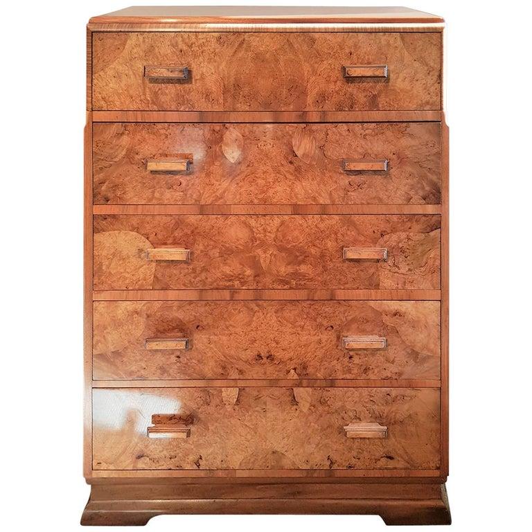Original Art Deco Chest Of Drawers In Figured Walnut Veneers For Sale