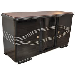 High Gloss Black Art Deco Sideboard with Leather Top