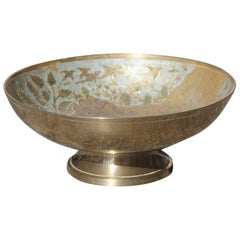 Brass Bowl with Engravings and Oriental Enamels