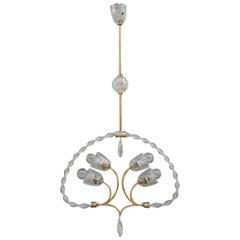 Elegant Italian Murano Art Glass 1940s Chandelier