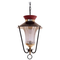 Midcentury French Bicolored Glass & Metal Lantern