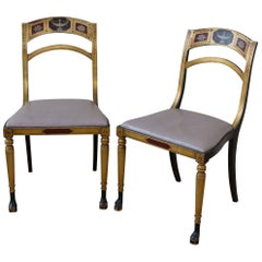 19th Century Regency Chairs with Hand-Painted Backs Leather Seats, Pair