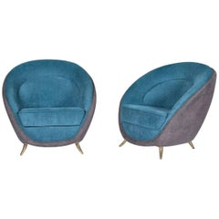 Guglielmo Veronesi for I.S.A. Pair of Armchairs, Italy, 1950s