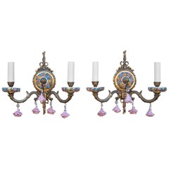Pair of Brass and Porcelain Floral Sconces, Mid-20th Century