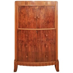 Art Deco Walnut Tallboy Chest with Cupboard over Attributed to Serge Chermayeff