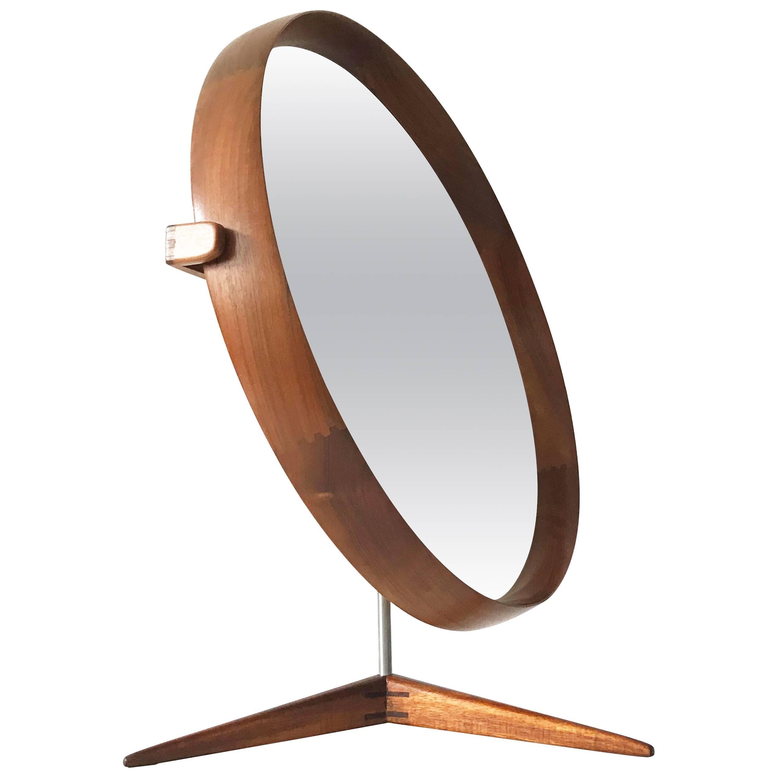 Large Teak Table Mirror by Uno & Östen Kristiansson for Luxus Sweden 1960s