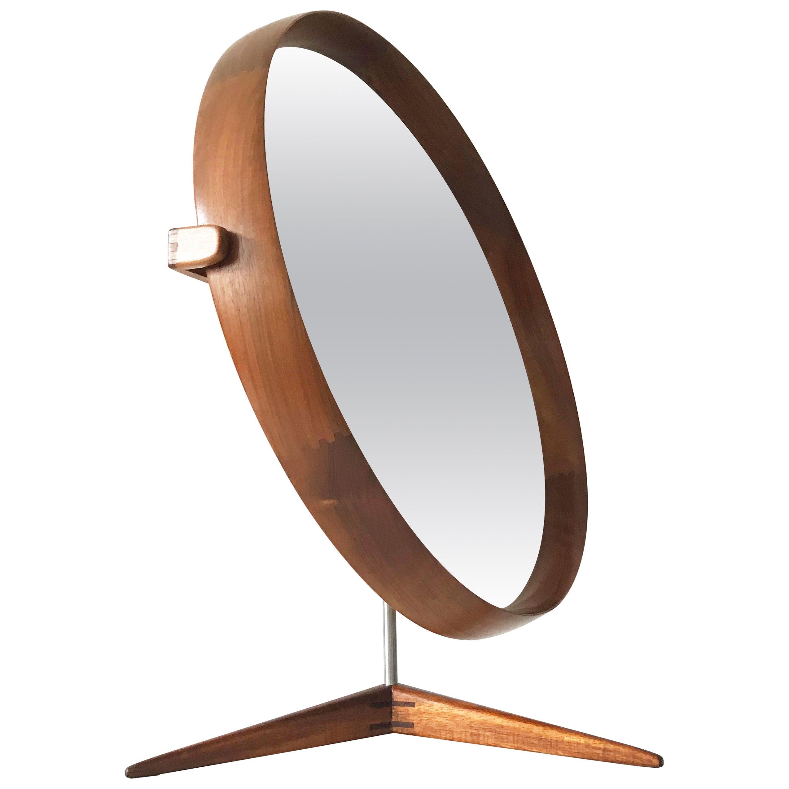 Large Teak Table Mirror by Uno & Östen Kristiansson for Luxus, Sweden, 1960s