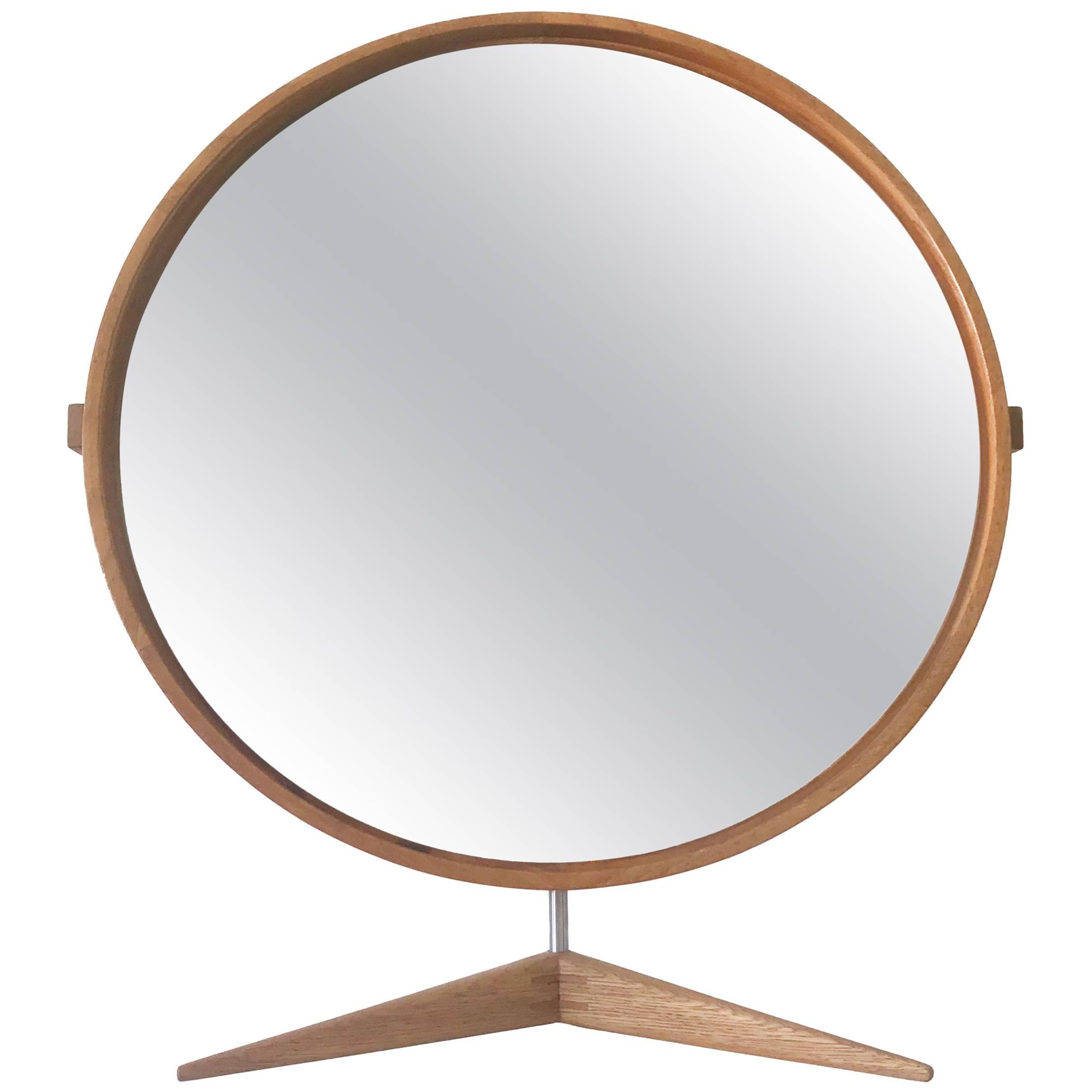 Elegant Oak Table Mirror by Uno & Östen Kristiansson for Luxus Sweden 1960s