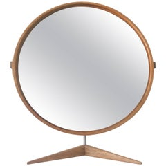 Large Oak Table Mirror by Uno & Östen Kristiansson for Luxus, Sweden, 1960s