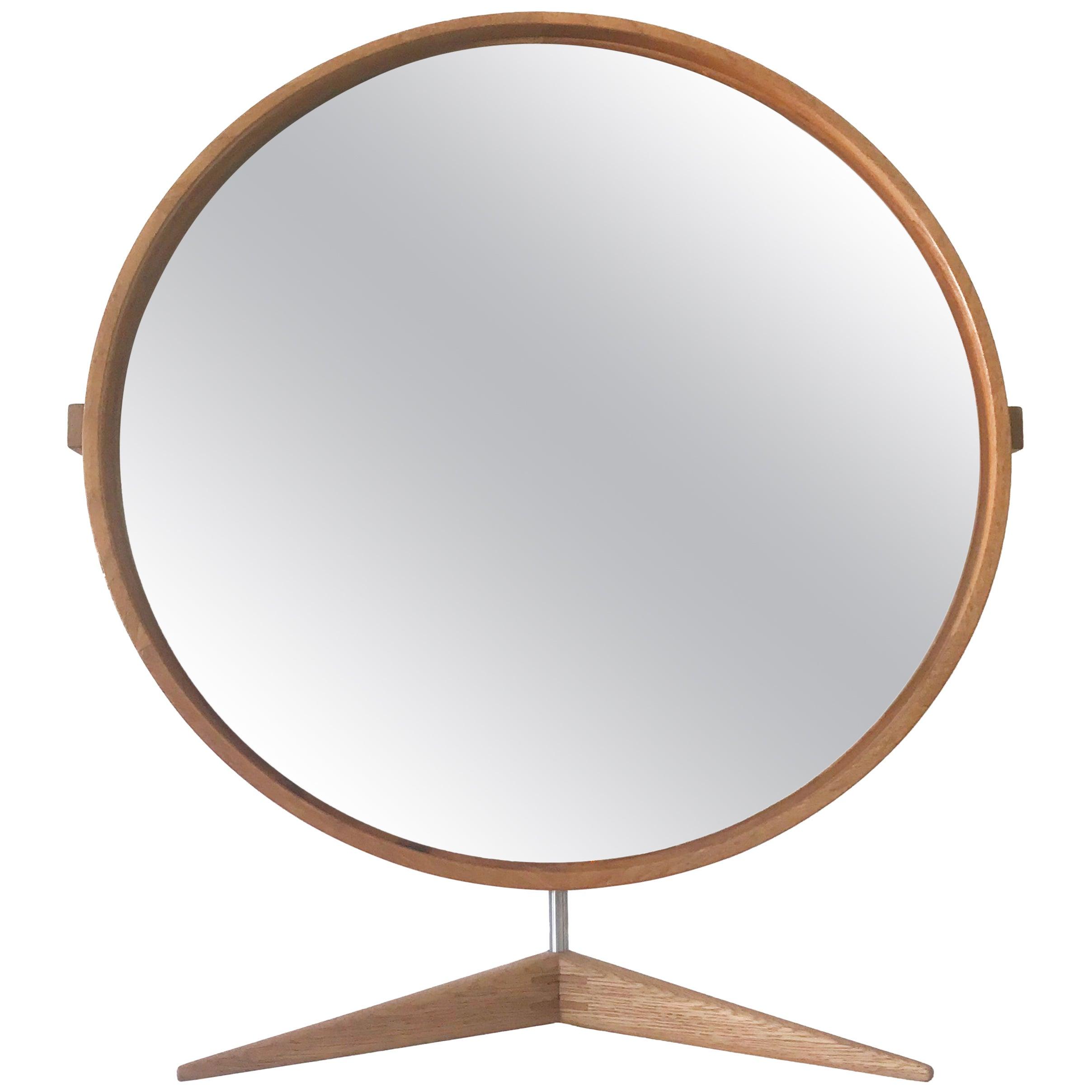 Large Oak Table Mirror by Uno & Östen Kristiansson for Luxus, Sweden, 1960s