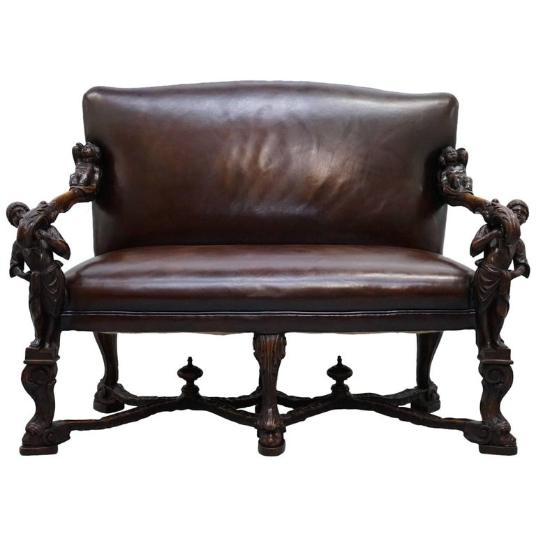 Andrea Brustolon Carved Venetian Baroque Walnut Settee Sofa Bench Brown Leather