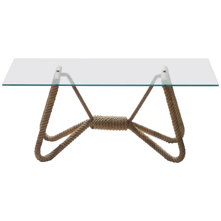 Audoux Minet Rope and Glass Coffee Table, 1960s