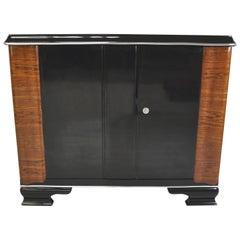 Art Deco Design Commode with Walnut Wood Ornamentations