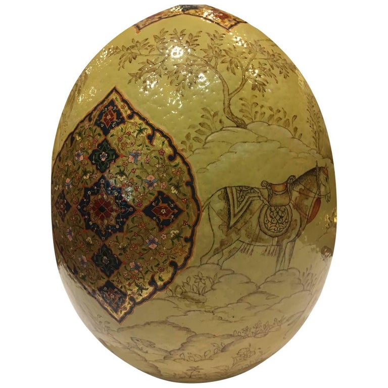 21st Century, Beautifully Detailed Ostrich Egg, Iranian