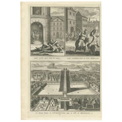 """Antique Print of Captives and the Great Temple of Vitsliputsli """"Mexico"""""""