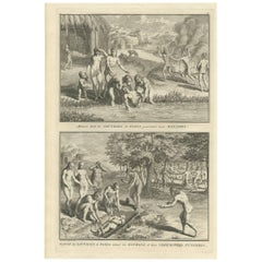 """Antique Print of the Healing and Funeral Ceremonies of the Parias """"India"""""""