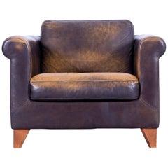 Machalke Designer Armchair Leather Brown One Seat Couch Modern