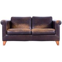 Machalke Designer Two-Seat Sofa Leather Brown Couch Modern