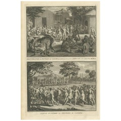 Antique Print of Funeral Ceremonies of the Canadian People by B. Picart, 1723